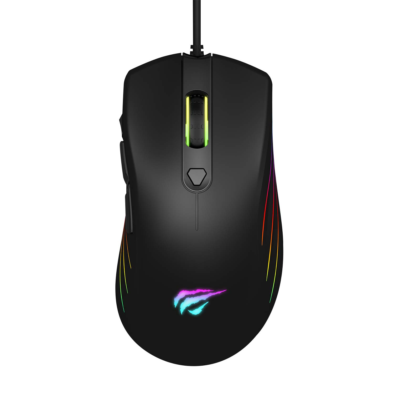 Havit Gaming Mouse Wired 7200DPI RGB Backlit Comfortable Computer Ergonomic USB Programmable Mice 1000Hz Polling Rate for Laptop Desktop PC Gamer