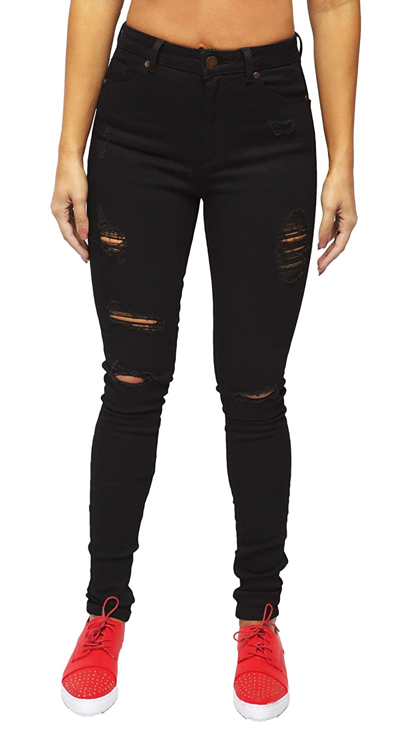 2529773eaccdd Heels & Jeans Ripped Skinny Jeans for Women High Waisted Stretch Distressed  Pants (Black, 10) at Amazon Women's Jeans store