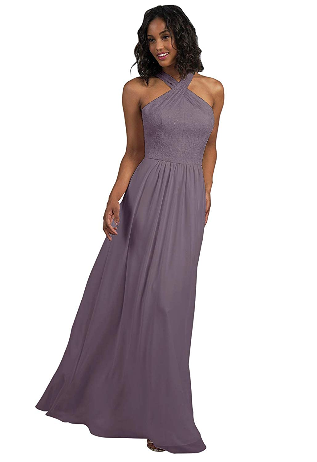 Wisteria RTTUTED Lace Long Bridesmaid Dresses with CrissCross Neckline Prom Evening Gown
