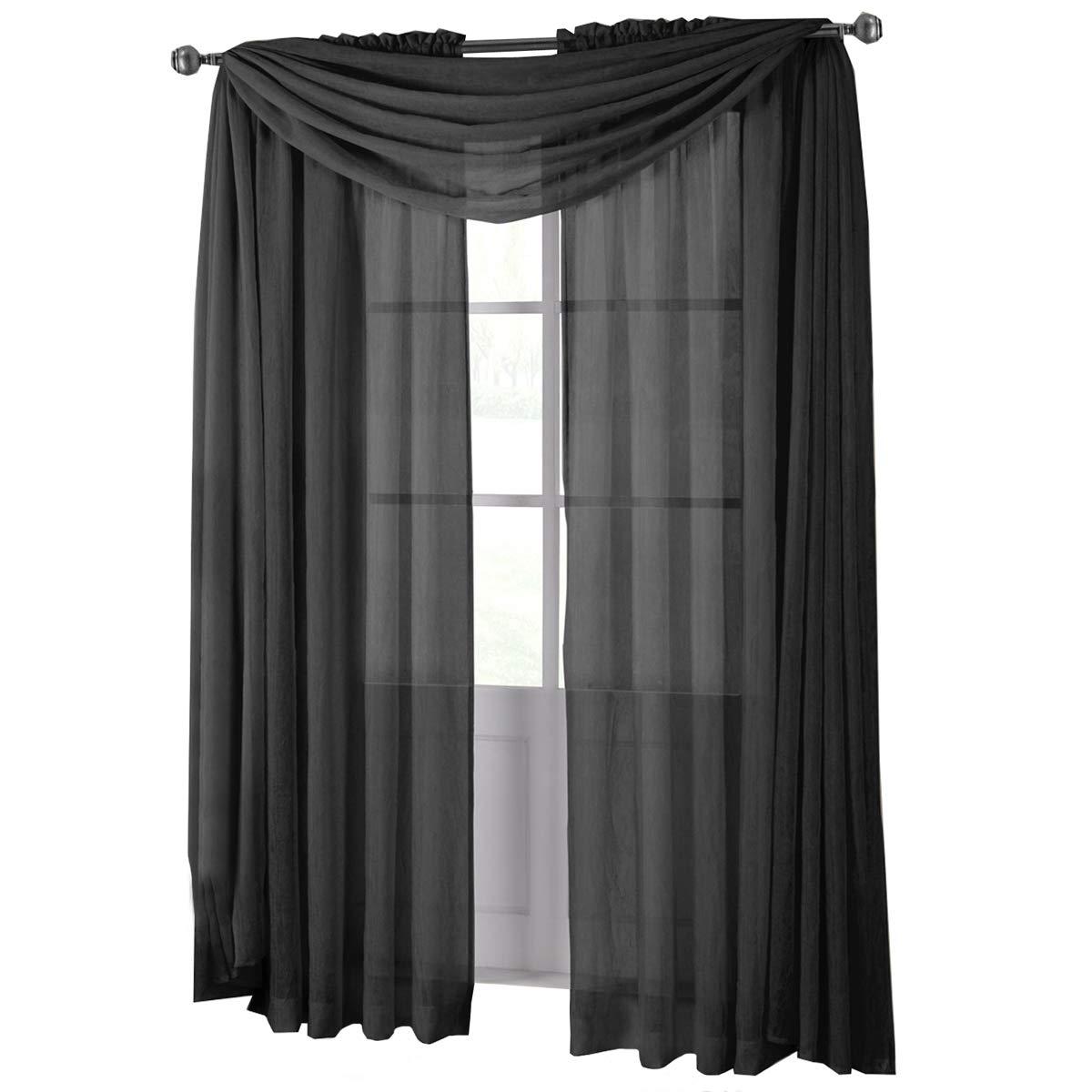 bfe5791e1da Amazon.com  Royal Hotel Abri Black Rod Pocket Crushed Sheer Curtain Panel