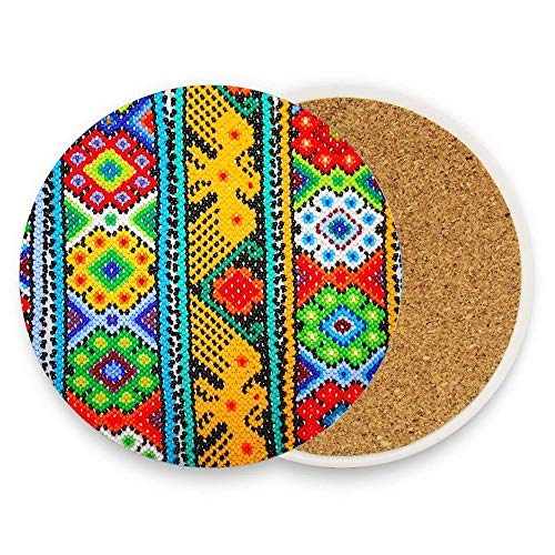 Coasters for Drinks,Pack of 1 Round Coasters No Holder, Protect Your Furniture - Colourful Mexican Bracelets