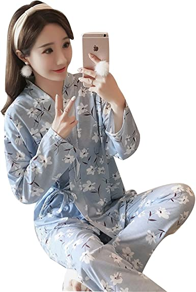Naughtyspicy Women's Sleepwear, Nightwear Lounge Sets, Long and Short  Sleeve Japanese Style Cotton Quilting Pajama Set at Amazon Women's Clothing  store