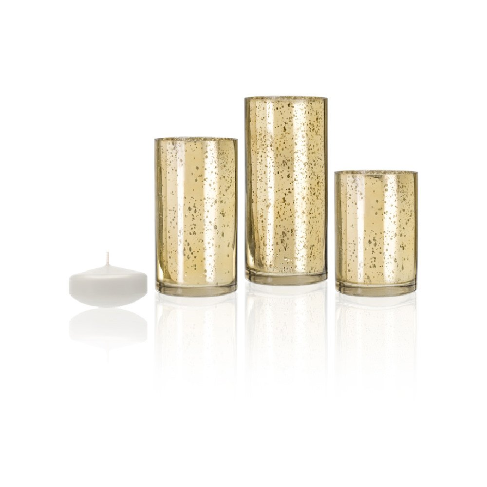 Gold Metallic Cylinder Vase or Candle Holder Set of 3