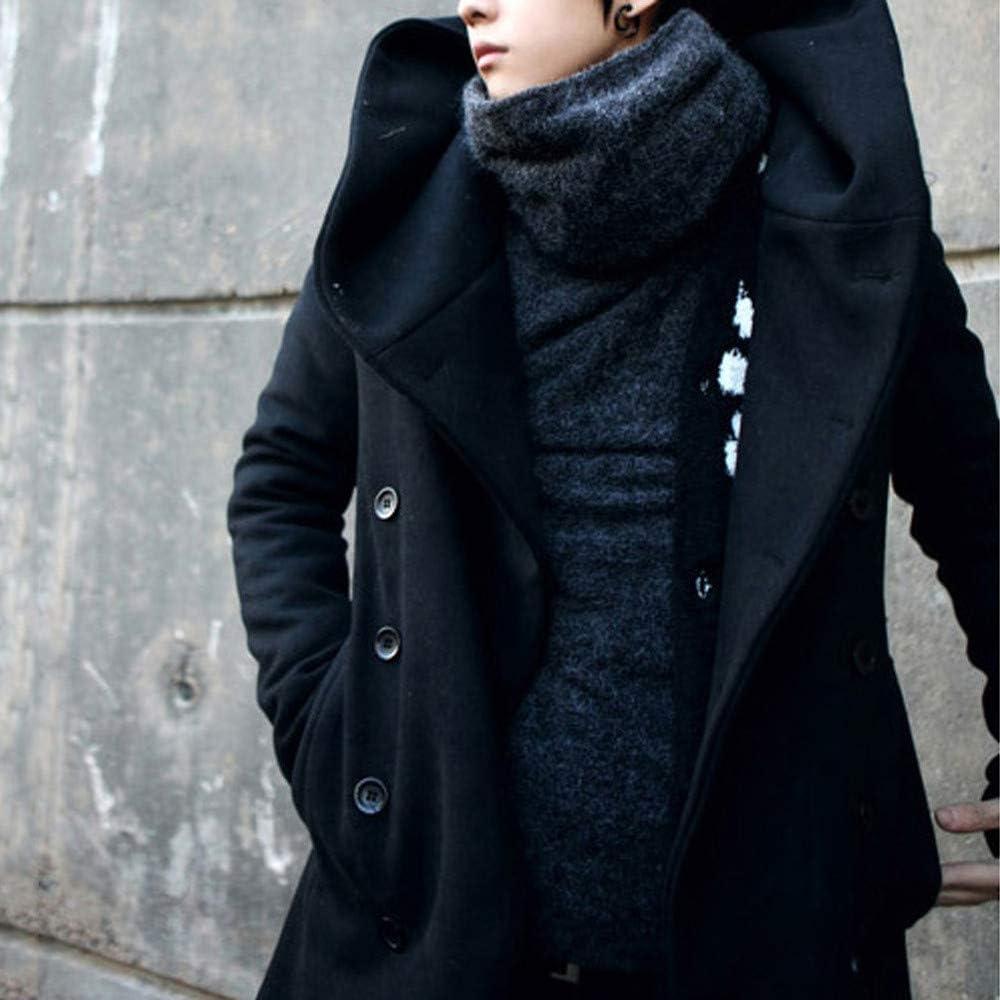 YKARITIANNA Mens Big Boys Soft Fleece Tops Spring Warm Fit Trench Coat Button Hooded Jacket Long Sleeve Outwear Top