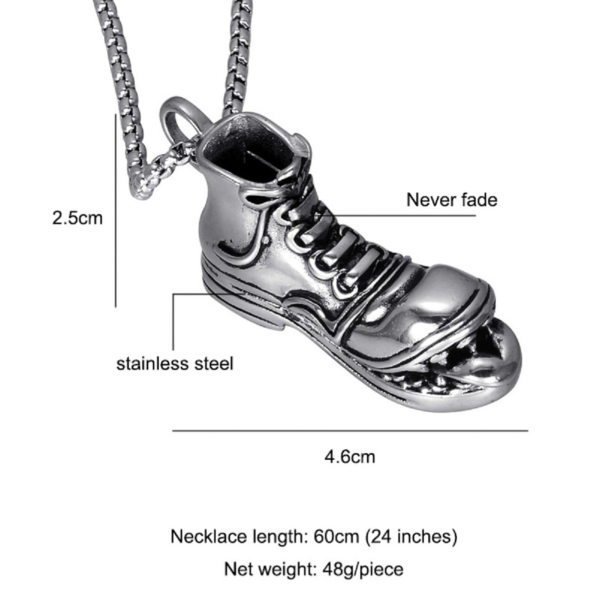 Teeth Snow Boots Men Pendant Necklace for Men (60cm)