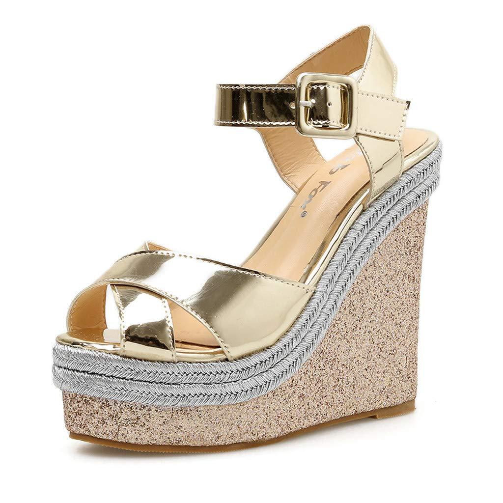 Women Girls Wedges Cork Bottom Roman Sandals Retro Ankle Strap Buckle Open Toe Sandal Comfy High Heel Beach Dress Shoes (Gold, 5.5 M US) by Swiusd Shoes
