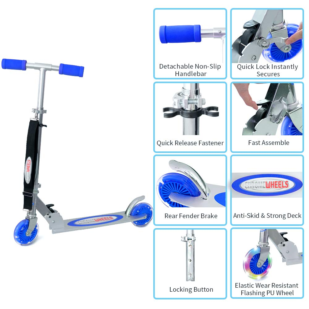 Amazon.com: ChromeWheels Scooter para niños, Deluxe 2 ruedas ...