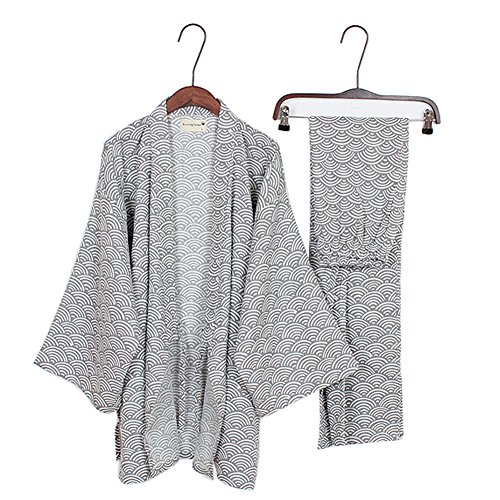 Men's Japanese Style Robes Kimono Pajamas Suit Dressing Gown Set[Gray Wave Pattern Size L]