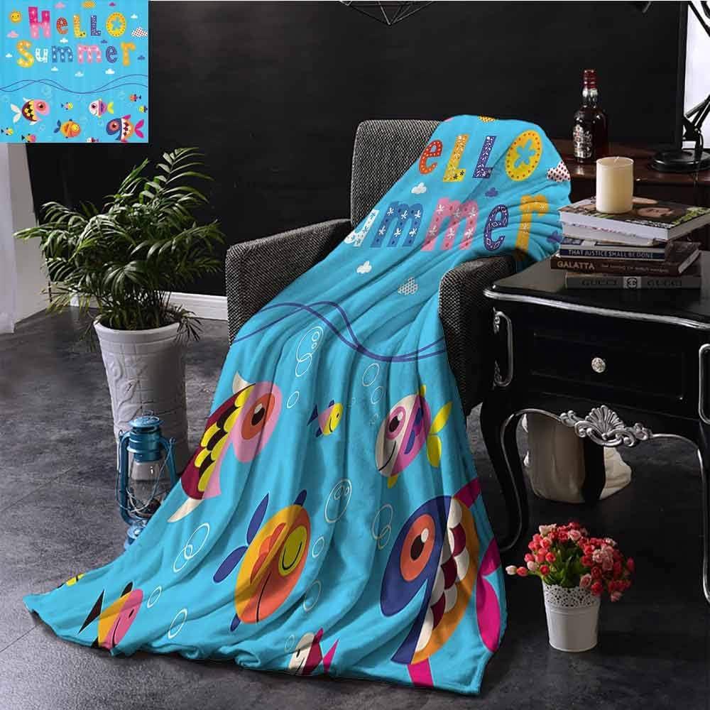 GGACEN Manta de Colores para bebé con Cita de Bienvenida con diseño de Patchwork, Estilo de Nubes de Peces, Imagen de Invierno, Tela de Microfibra de 35