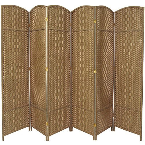 7 Panel Partition (Oriental Furniture 7 ft. Tall Diamond Weave Room Divider - Natural - 6 Panels)