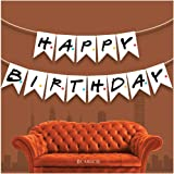 BCARICH Friends TV Show Happy Birthday Banner Sign, Friends Themed Party Flag Banner, Party Supplies for Friends Fan, White Birthday Banner with Black Alphabets and Colorful Dots