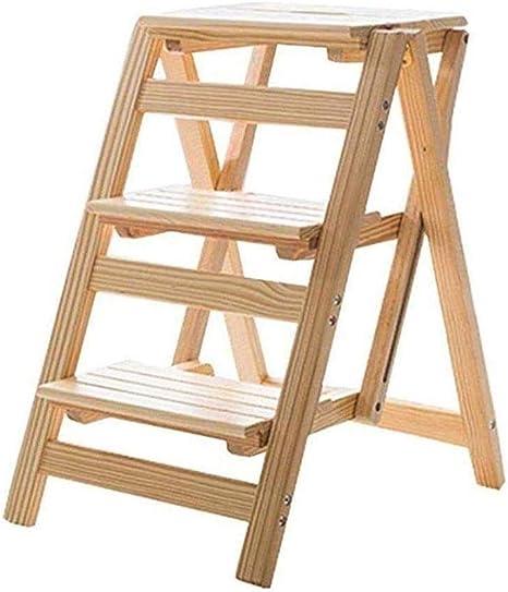 Las escaleras de madera Pasos retráctil etapa de plegado heces escala Stool pie de cama, sólido flor madera estante stand-hogar General Perfil Ascend interior madera multifunción Las escaleras de made: Amazon.es: Hogar