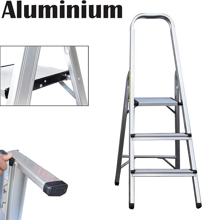 Escalera de 3 peldaños de aluminio, plegable, portátil, con ...