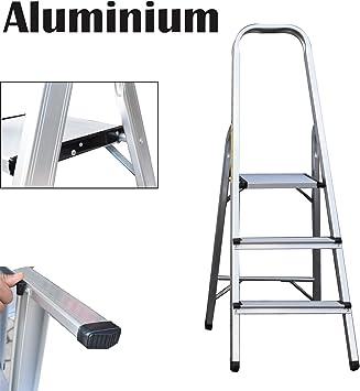 Escalera de 3 peldaños de aluminio, plegable, portátil, con capacidad de 150 kg: Amazon.es: Bricolaje y herramientas