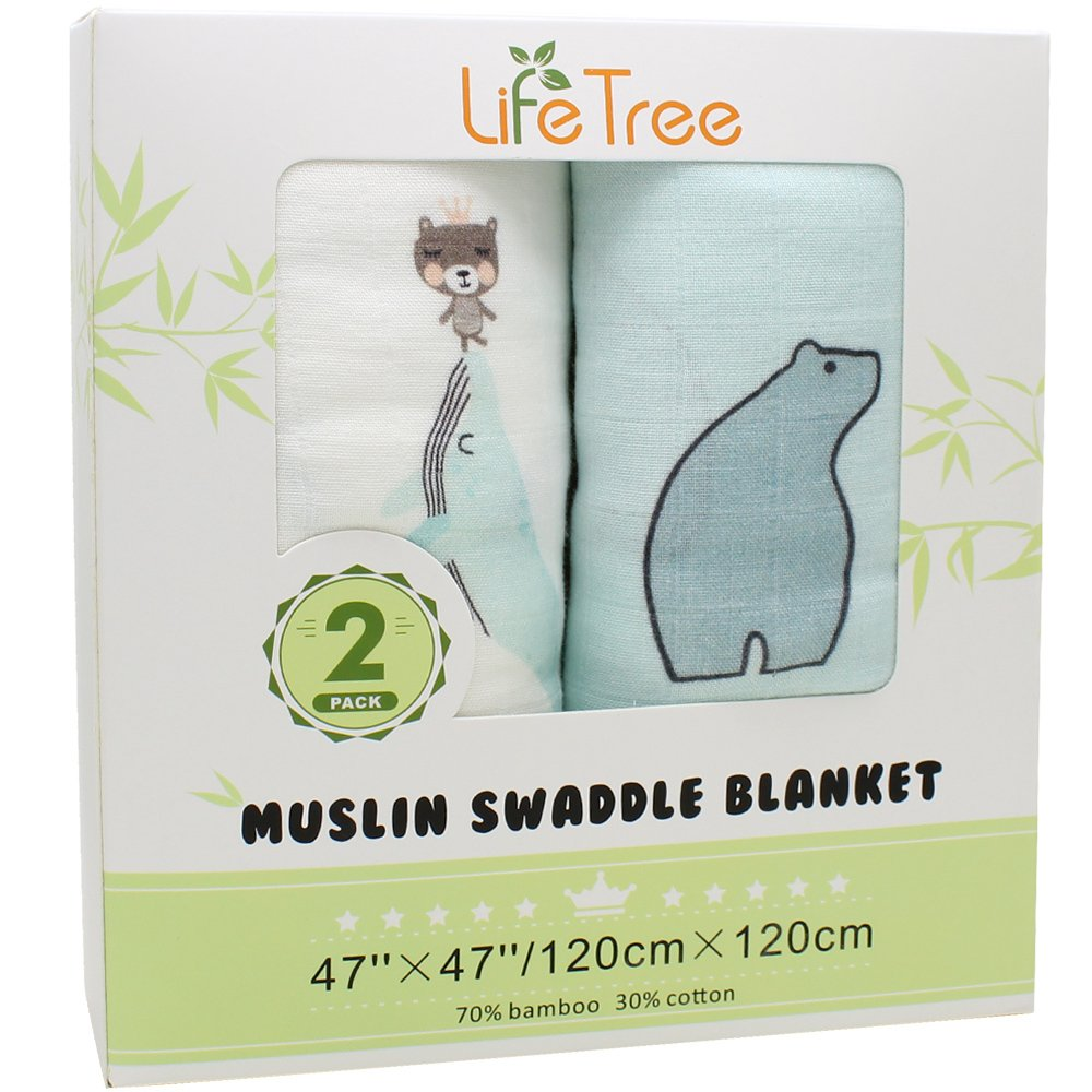 LifeTree Muslin Swaddle Blankets - (2 Pack,Giraffe & Bear) Bamboo Cotton Soft Muslin Cloths for Baby Girl or Boy Lebze