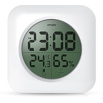 BOOMYOURS Badezimmer-Uhr mit digitalem Thermometer und: Amazon.de ...