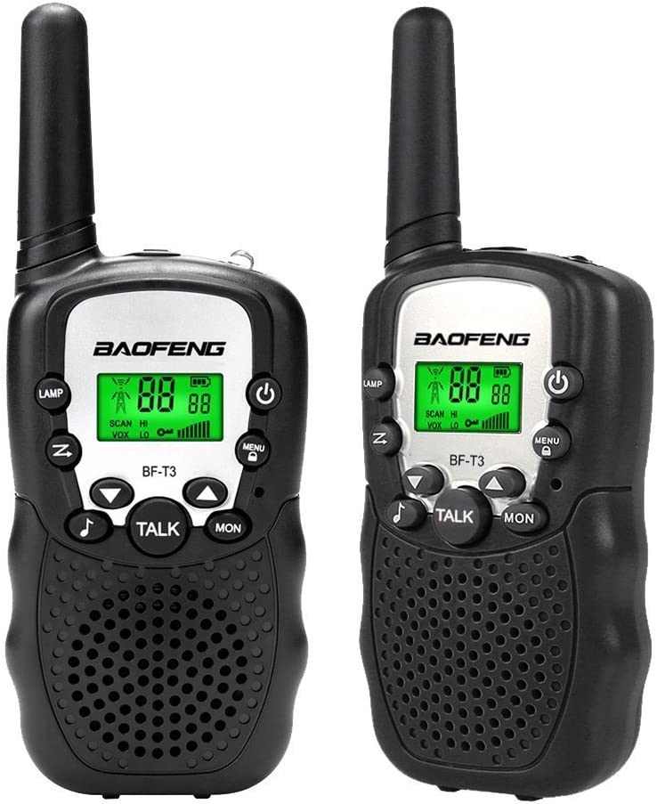 Mengshen Baofeng Mini Walkie Talkies BF-T3 for Kids Rechargeable Two Way Radio for Children Family, Long Range 22 Channels UHF 462-467MHz with Flashlight BF-T3 Black (Pack of 2)