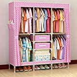 Generic New Super Large Reinforced Wardrobe Thickened Oxford Cloth Wooden Triple Fully-Enclosed Closet+2 Free Drawers+1 Free Storage Box