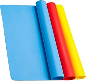 Extra Large Silicone Mat, Sumille Food Grade Placemat Heat Resistant Countertop Protection Pads, Resin Craft Jewlery Casting DIY Sheet Home Kitchen Multi-Purpose Mats(3 Pack)