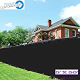 Eden's Decor Customizable 5-ft Wide Commercial Grade Fence Screen Privacy Screen 140 GSM (5ft X 50ft, Black)