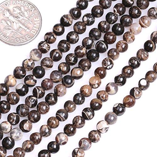 GEM-inside Natural Genuine 4mm Round Dark Brown Turritella Agate Beads for Jewelry Making Strand -