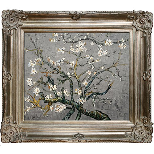 La Pastiche Almond Tree In Blossom, Pearl Grey Framed Hand Painted Original Artwork With Renaissance Champagne Frame (Renaissance Champagne Frame)