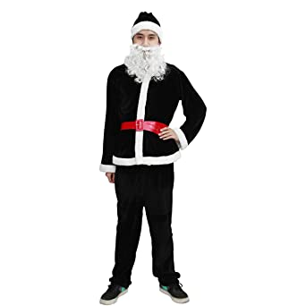 [TOYMAKET] サンタクロース衣装 ブラック サンタコスプレ メンズコスチューム セット