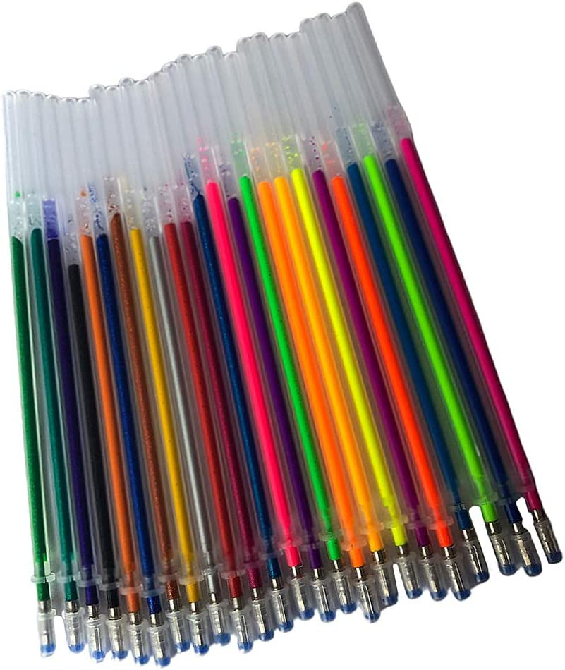 P Prettyia Glitter Gel Pen Refills No Duplicates Set of 24 Couleurs Glitter and Neon Glitter Acid-Free Non-Toxic