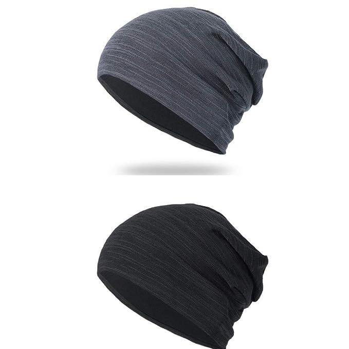 894dfda2c1e711 Greewo Beanie Hat, 2 Pack Mens Womens Slouch Beanies Hats Warm Thin Skull  Cap Multifunctional