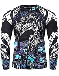 LAFROI Men's Long Sleeve UPF 50+ Baselayer Performance Compression Shirt Rash Guard-CLY08