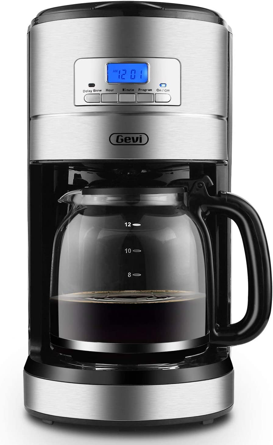 Coffee Makers 12 Cup, Gevi Programmable Coffee Maker with Auto Shut-off, Coffee Pot with Filter and Hot Plate,Silver