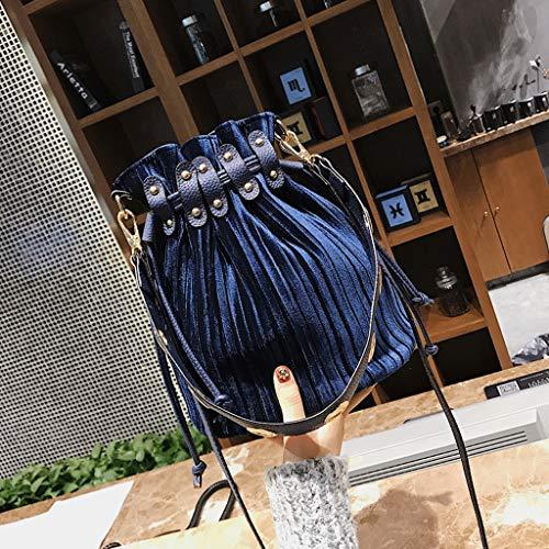 color Retro Tamaño Cubo S Rxf De Azul 1 Lazo Bandolera Mujer Bolso xqCT0ZS