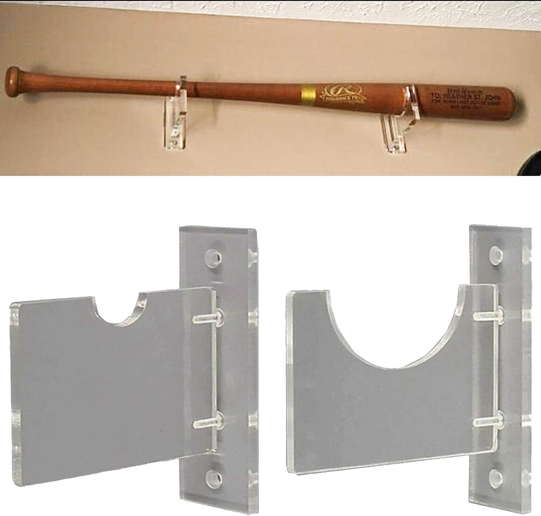 Baseball Bat Display Rack Clear Acrylic Baseball Bat Holder Wall-Mount Bracket