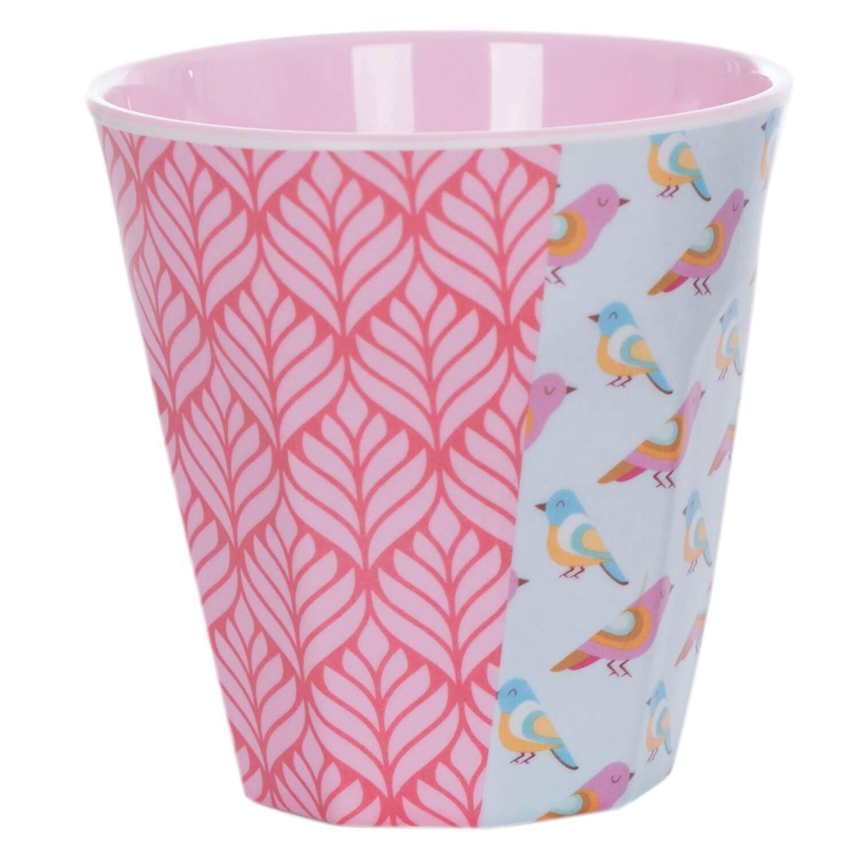 Vaso de melamina Overbeck and Friends Cherry Kirschen color rosa gris y multicolor 250 ml, apto para lavavajillas, sin BPA
