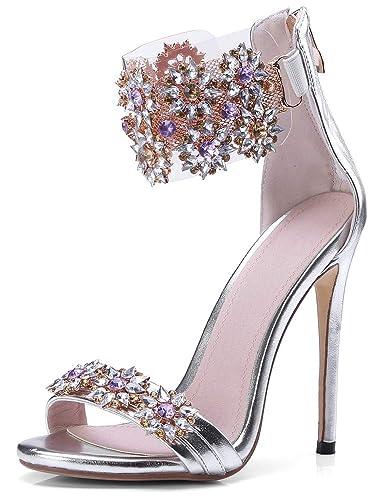 3ec827385 Amazon.com  High Heel Rhinestone Sandals
