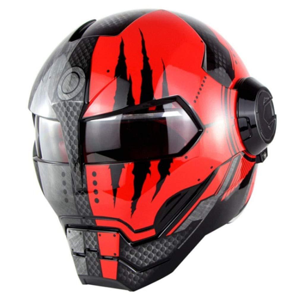 HELOET Motorcycle Helmet Personality,BlackSilver-XL