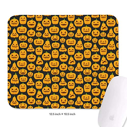 (Adorable Halloween Pumpkin Faces Mouse Pad Natural Rubber Excellent Cloth Mousepad Stable No Slip Easy to Clean Office Home Computer Laptop Comfortable Rectangle Gaming 270X320 MM Mouse)