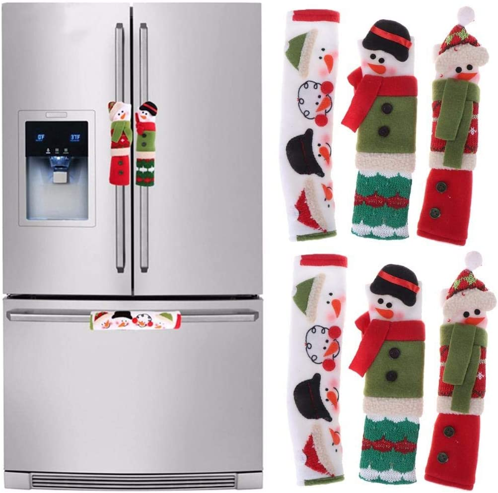 OBANGONG 6 Pcs Christmas Snowman Refrigerator Door Handle Covers Kitchen Appliance Handle Covers Christmas Decoration for Refrigerator Microwave Oven Dishwasher Kitchen Appliances
