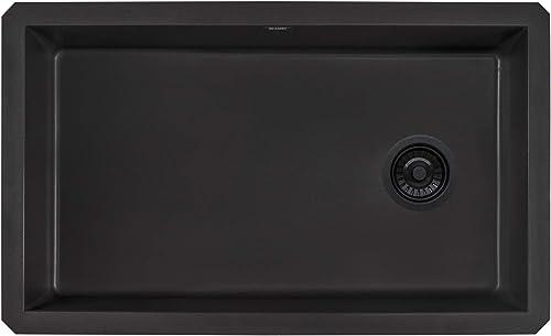 Ruvati 32 x 19 inch Undermount Granite Composite Single Bowl Kitchen Sink – Midnight Black – RVG2033BK