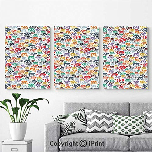 Modern Gallery Wrapped Canvas Print Halloween Theme Colorful Skulls and Crossbones 3 Panels Pictures on Canvas Wall Art Ready to Hang for Living Room Kitchen Home Decor,12