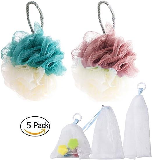 Amaoma Cuerpo Esponja + Adaptador de Jabón Juego de Baño, Baño Bolas Baden Esponja Ducha Esponja Esponja Natural, Jabón Bolsitas para Jabones (3x Jabón Bolsa | 2x baño esponjas): Amazon.es: Juguetes y