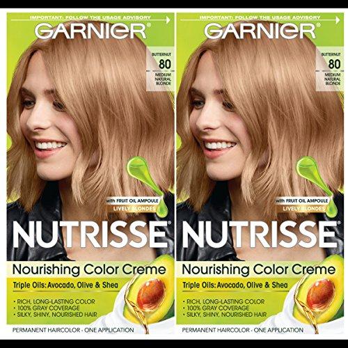 Garnier Hair Color Nutrisse Nourishing Creme, 80 Medium Natural Blonde (Butternut), 2 Count