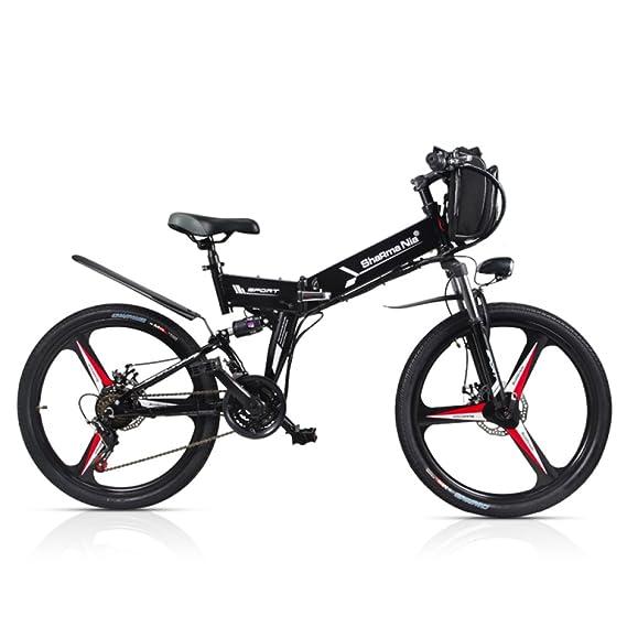 GTYW Bicicleta eléctrica plegable para bicicleta de montaña 48 V de litio con una rueda para bicicleta 26, color negro, tamaño 178*61*120cm: Amazon.es: ...