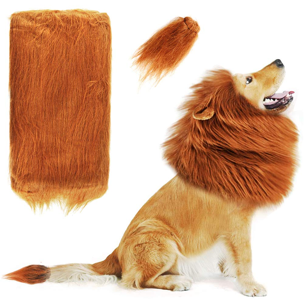Heatoe Lion Mane Costume for Dog, Dog's Lion Wig, Helps Dog to Pretend to Be Lion, Suitable for Medium and Large Dogs to Use at Parties.