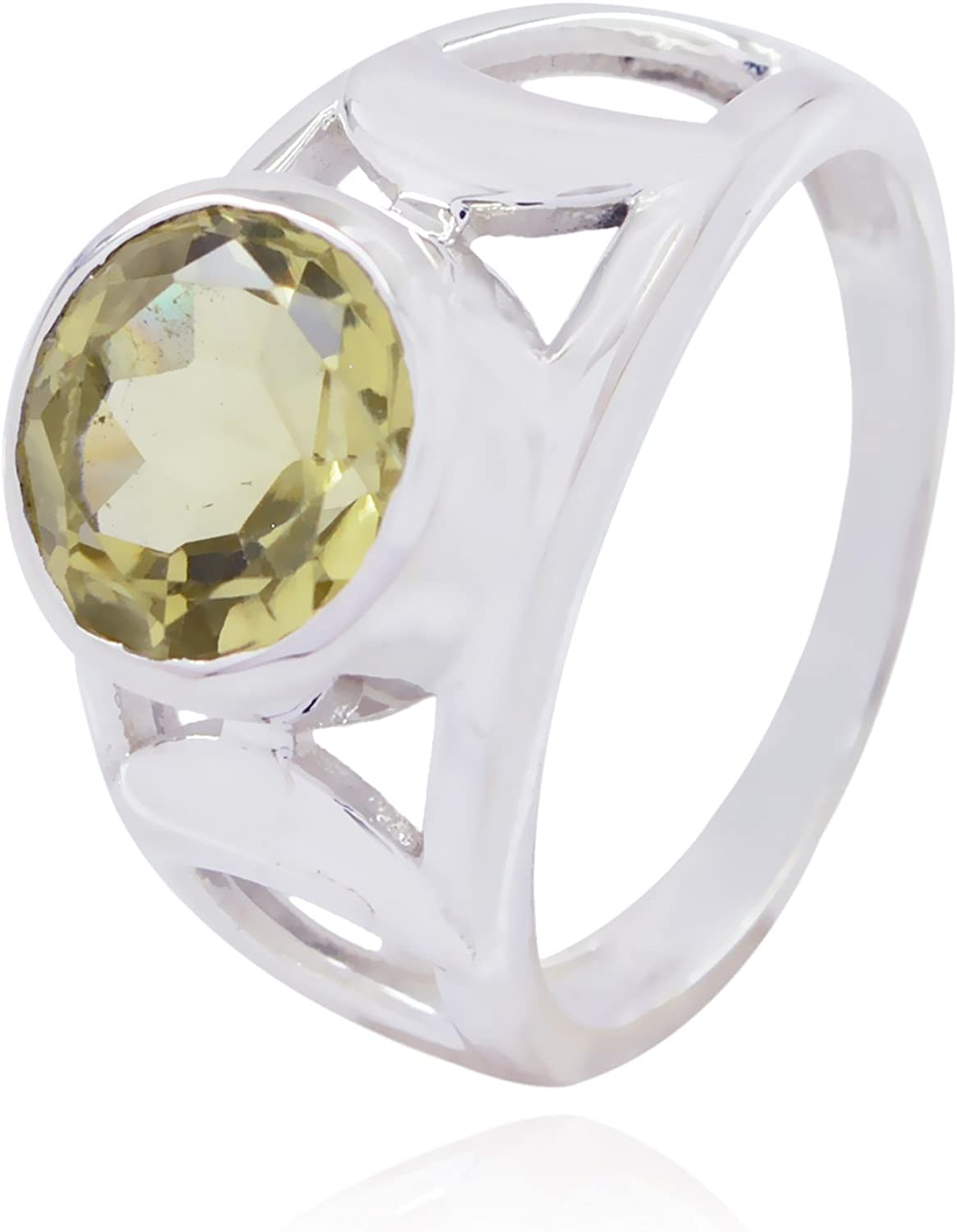 Solid Silver Yellow Lemon Quartz Real Gemstones Ring Real Gemstones Round Faceted Lemon Quartz Ring Kids Jewelry Great Selling Shops Gift for Teachers Day Bridesmaid Ring
