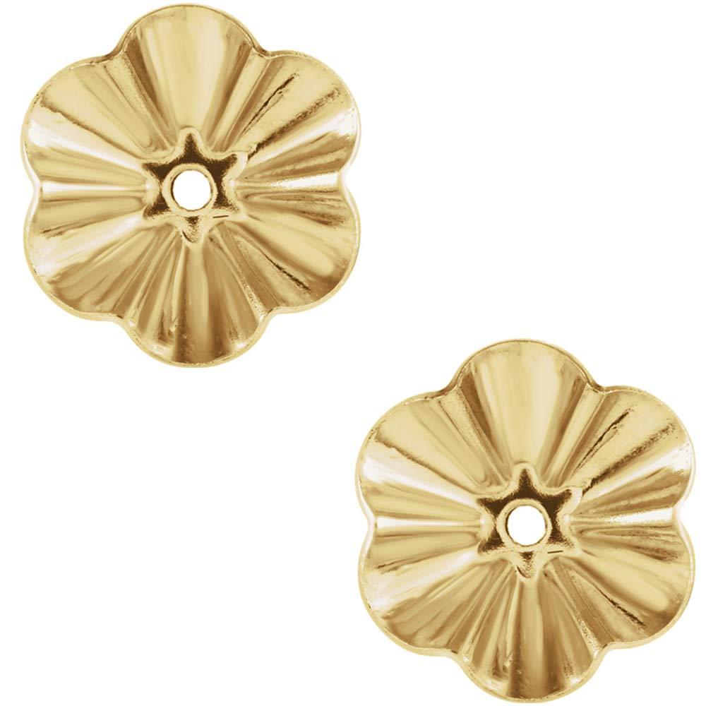 14 Karat Yellow Gold 6.75 Millimeter Diameter Buttercup Earring Jackets