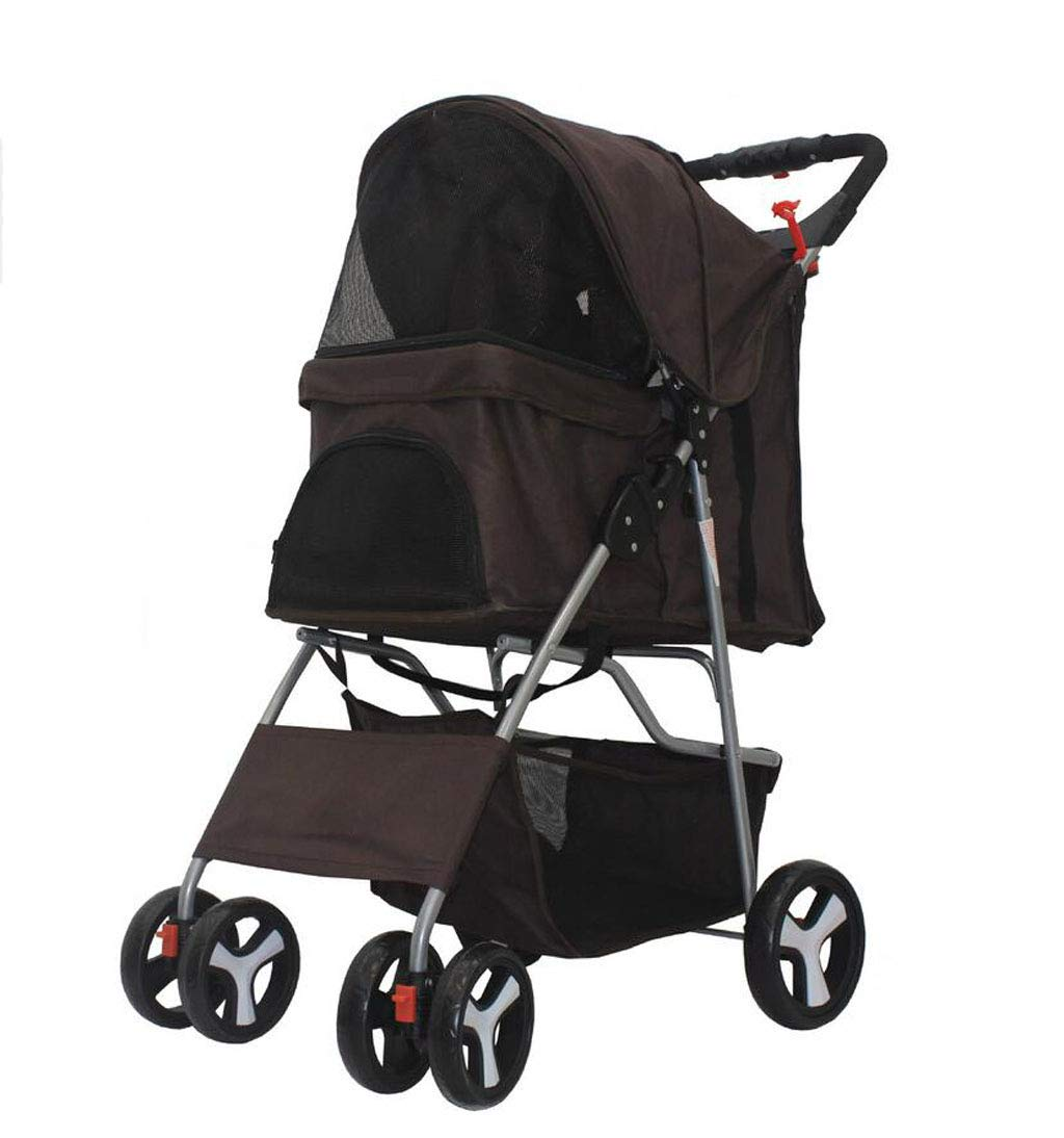 BROWN JBHURF Lightweight Folding Pet Trolley Dog Cat Four Wheels Pet Stroller Pet Supplies (color   BROWN)