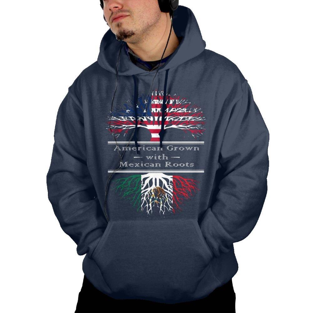 Aiguan American Grown W Mexican Mens Hoodie Sweatshirt with Pocket