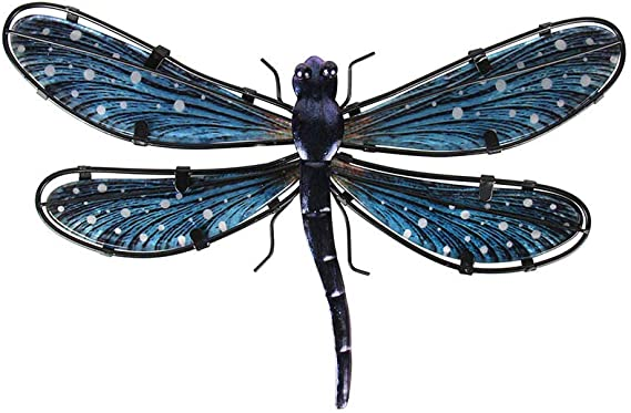 Liffy Metal Dragonfly Wall Decor Outdoor Garden Decorations Blue Hanging Glass Art For Patio Porch Or Fence Everything Else Amazon Com