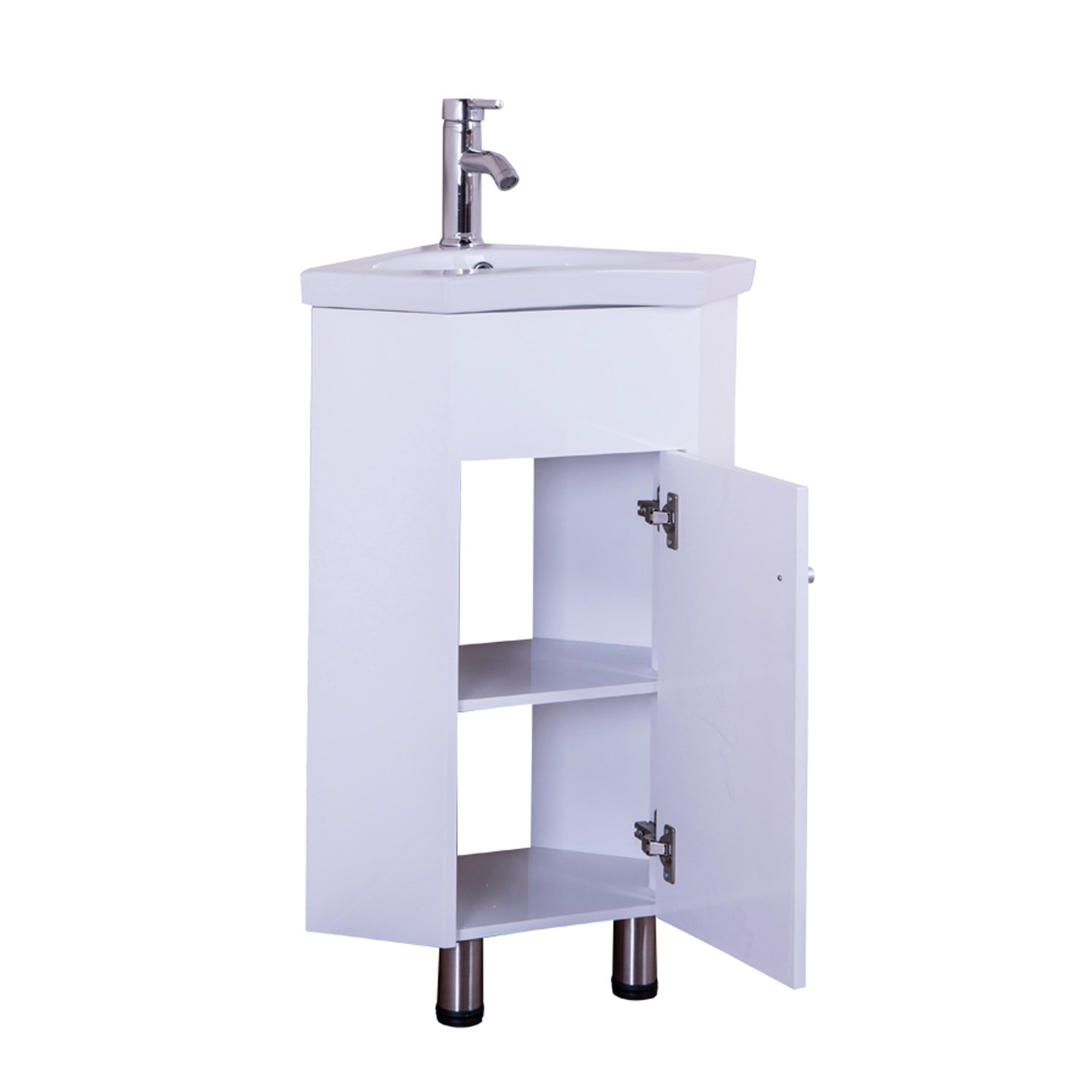Amazon Hom 560mm Gloss White Corner Bathroom Vanity Unit
